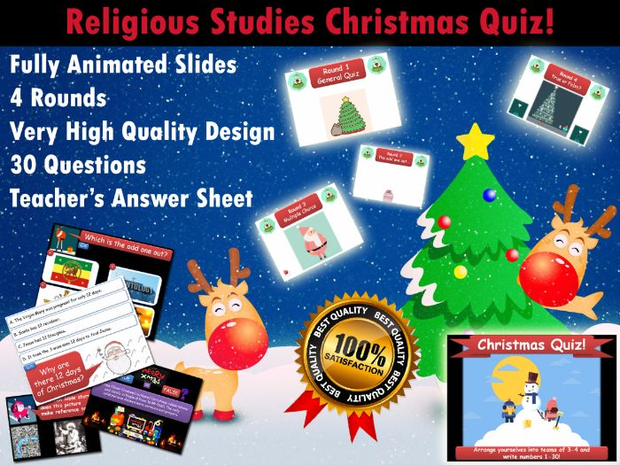 Religious Studies Christmas Quiz (RE / RS)  (Xmas, End of Term, Fun, Form / Tutor Time)