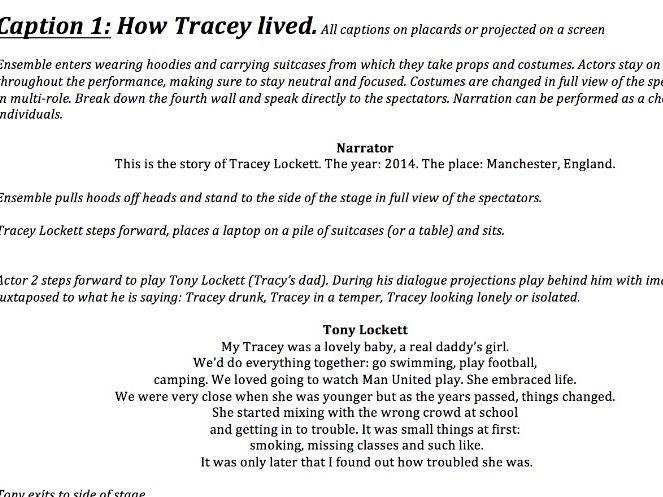 Tracey Lockett. GCSE (Brechtian style)