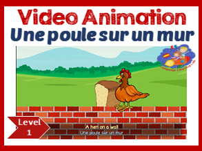French song in video animation - Une Poule sur un Mur