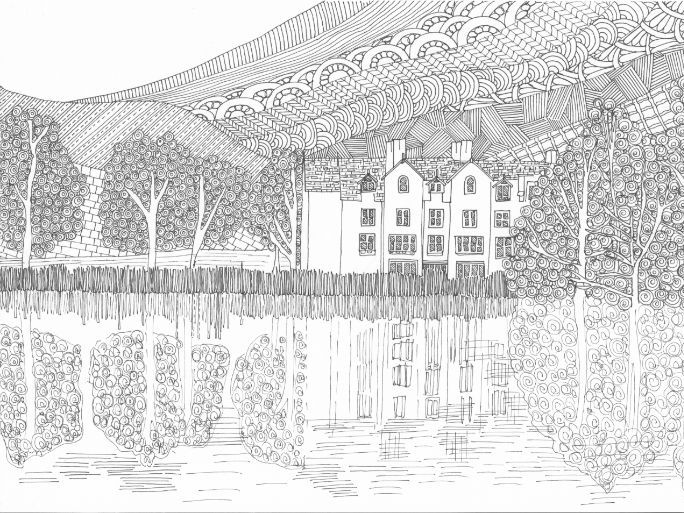 Grasmere Water, Lake District Colouring Page