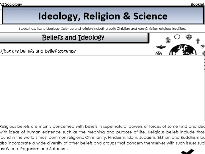 AQA Sociology , Year 2 , Beliefs in Society , Ideology, science and religion