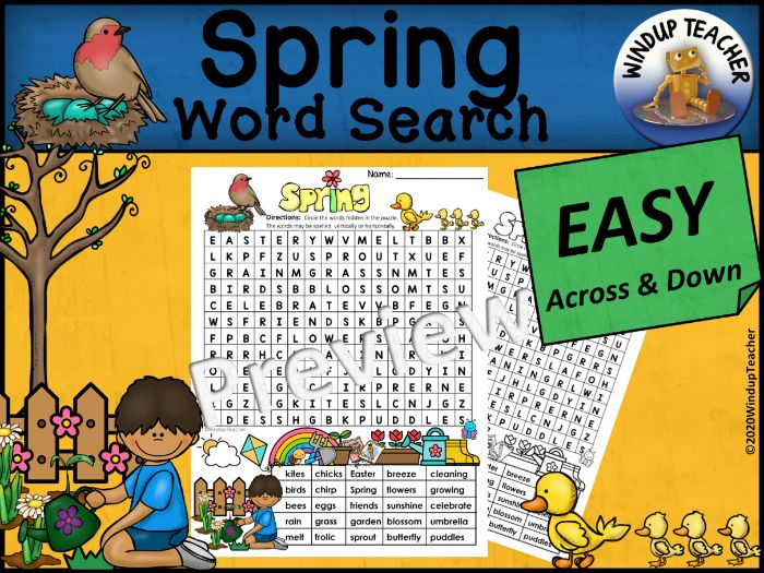 Spring Word Search | EASY Puzzle | Ready to Go!
