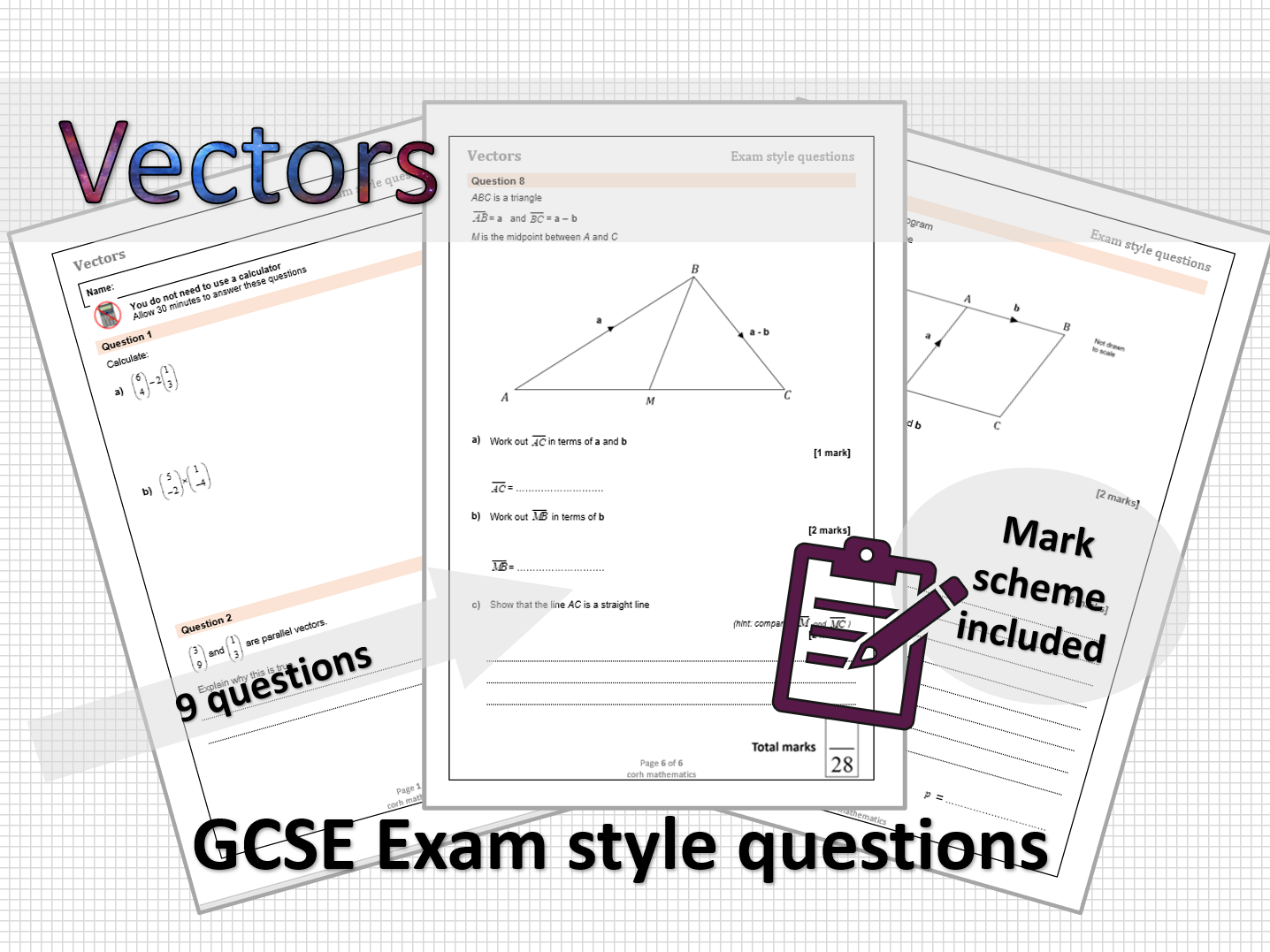Vectors  - exam style questions
