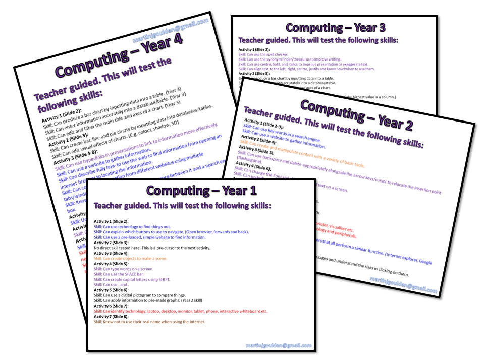 Computing Assessments: Years 1-4