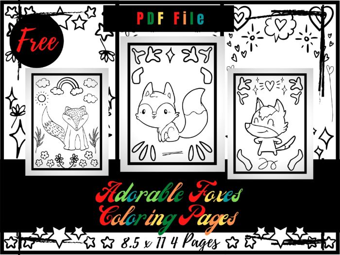 FREE Adorable Foxes Colouring Pages For kids, Free Fox Colouring Sheets PDF