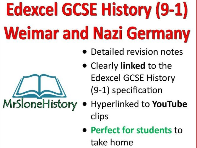 GCSE History (9-1) Edexcel History: Weimar and Nazi Germany Detailed Revision Book!
