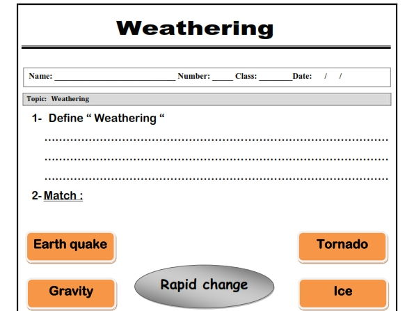 "Weathering "" worksheet"""