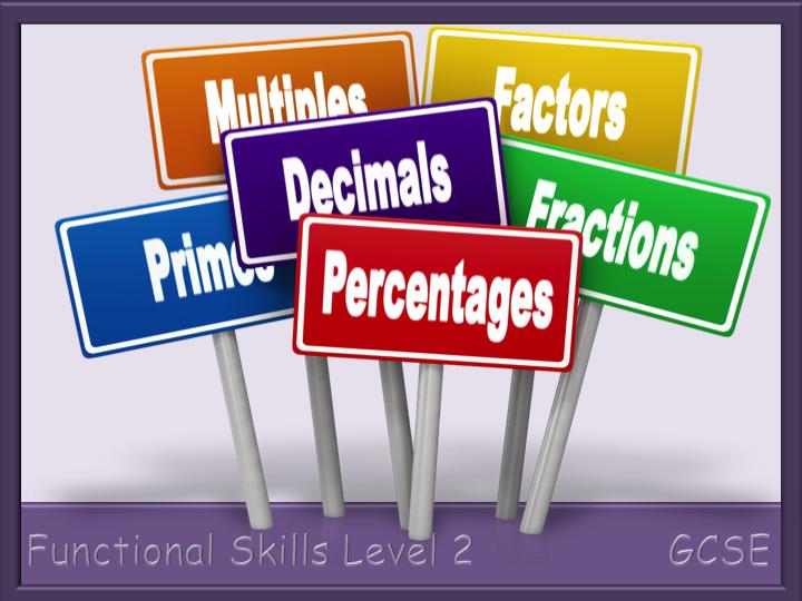 Factors, Multiples, Primes and Fraction, Decimal, Percentage Worksheets - Functional Skills L2 GCSE