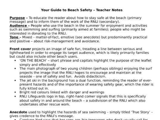 IGCSE Anthology Teacher Notes for Touching the Void, Passage to Africa and Your Guide to Beach Safety.