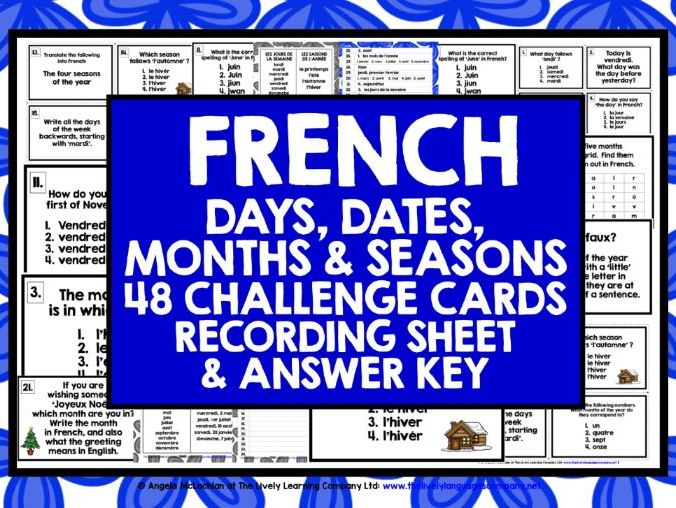 FRENCH DAYS MONTHS SEASONS DATES CHALLENGE CARDS