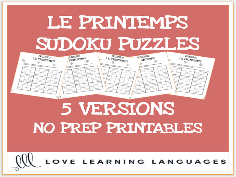 French spring vocabulary sudoku puzzles - Le printemps