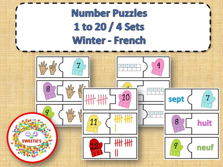 Number Puzzles 1 to 20 - Winter Theme - 2 Pieces Per Puzzle - French - Les Nombres