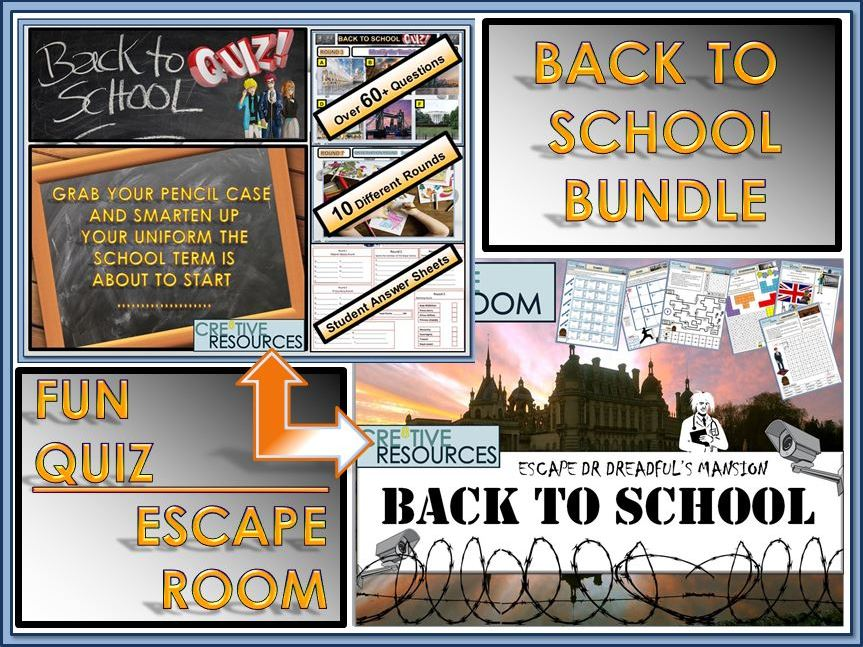 Back to School Escape Room Quiz Bundle