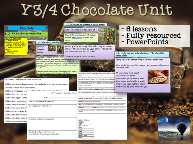 Y3 / Y4 Chocolate Unit - 6 lessons KS2 Geography