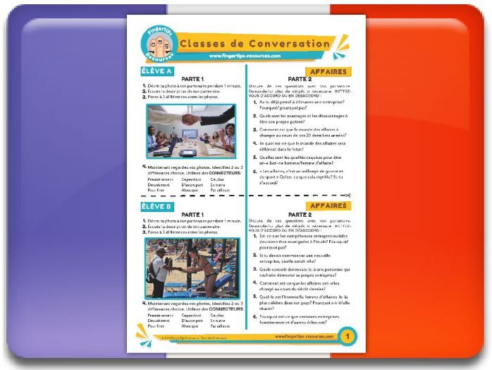 Les affaires - French Conversation Activity