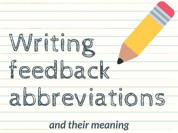 Writing Feedback Abbreviations Poster