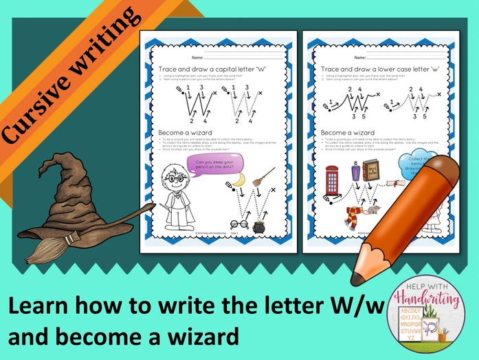 Learn how to write the letter W (Cursive style) and become a wizard