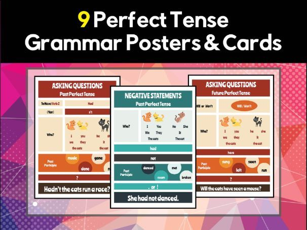 9 Perfect Tense Grammar Posters & Flash Cards