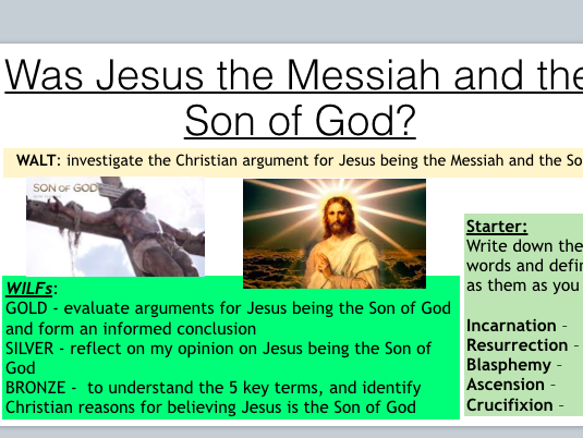 Was Jesus the Messiah (Lesson on Jesus as the Messiah -from new AQA Christianity Spec)