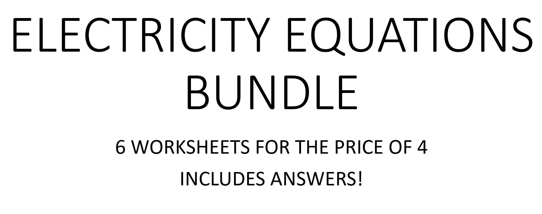 Electricity Equations Bundle