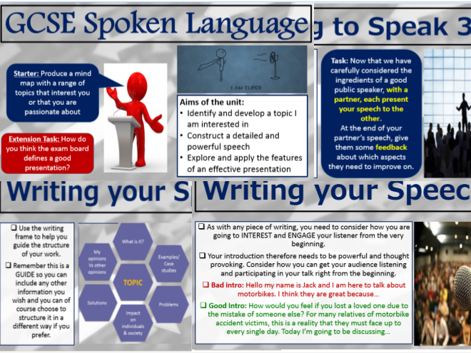 GCSE Spoken Language Presentations 9-1. Mini Scheme of Work. AQA, EDUQAS, OCR.