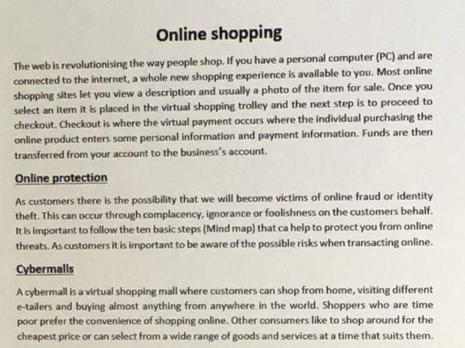 Online shopping handout