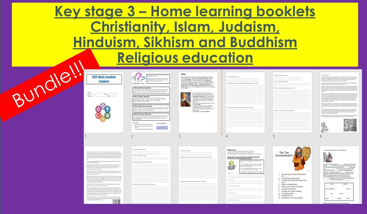 Key stage 3- Religious Education-  Christianity, Islam, Judaism, Hinduism, Sikhism, Buddhism- Home learning booklets