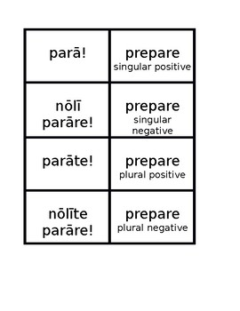 Imperative All conjugations Latin verbs Concentration games