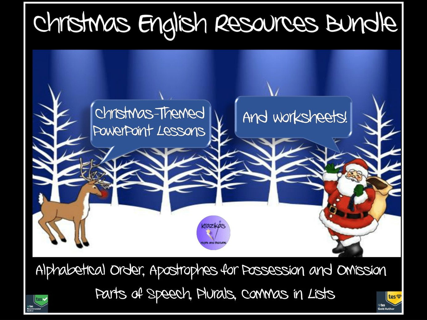 Christmas-Themed English Resources Bundle - PowerPoint Lessons and Worksheets