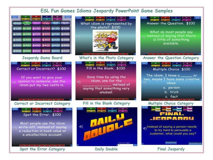 Idioms Jeopardy PowerPoint Game
