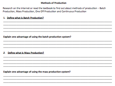 Methods of Production Worksheet