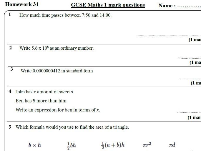 10 GCSE Maths Foundation Homework Revision (9-1) Part 4 -Includes all ANSWERS