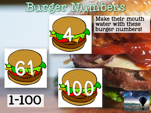 Numbers 1-100 on Burgers for Display