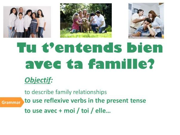 LES RAPPORTS EN FAMILLE (adverbs of frequency, reflexive verbs, describing personality)