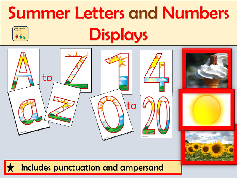 Summer-Themed Letters Numbers Punctuation Symbols, Maths Signs and Summer Photos Displays