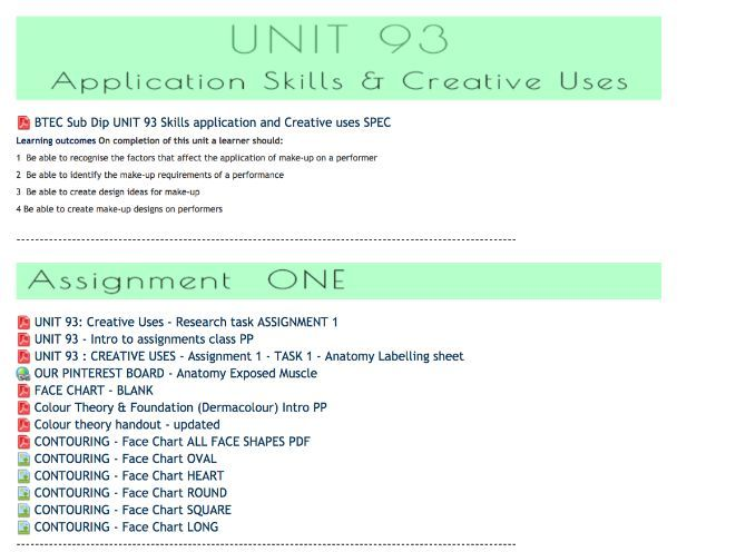 Banners UNIT Assignment Briefs  - VLE BTEC L3 Production Arts Makeup Units  2, 93, 95 sub dip MU