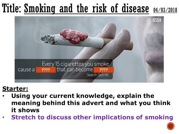 Smoking and the risk of disease - complete lesson (GCSE 1-9)