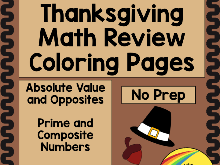 Thanksgiving Math Review Coloring Pages
