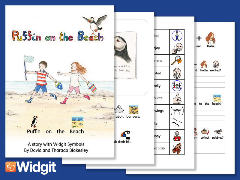 Puffin on the Beach – Illustrated Book and Literacy Activities with Widgit Symbols