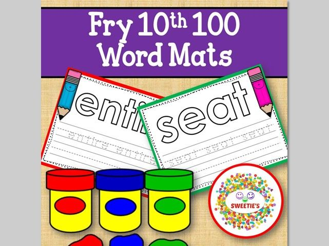 Sight Word Mats:  Fry 10th 100 Word Mats – Color