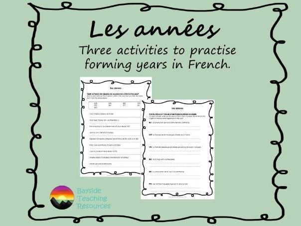 Les années - forming years in French