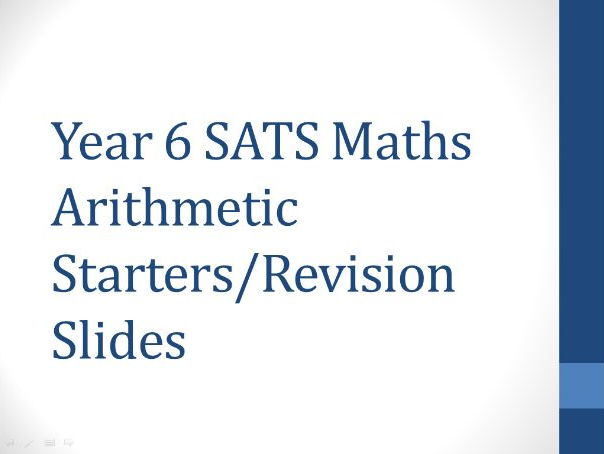 Year 6 Maths Arithmetic Slides for Starters or Revision