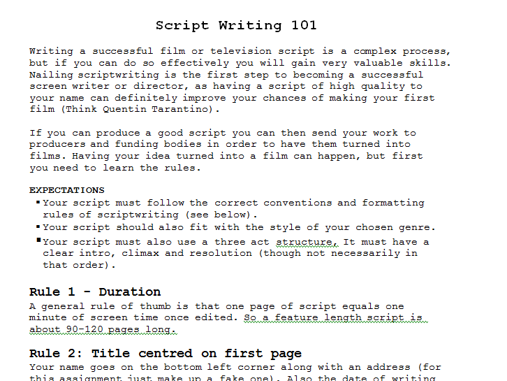 Introduction to Script Writing for Film and Television