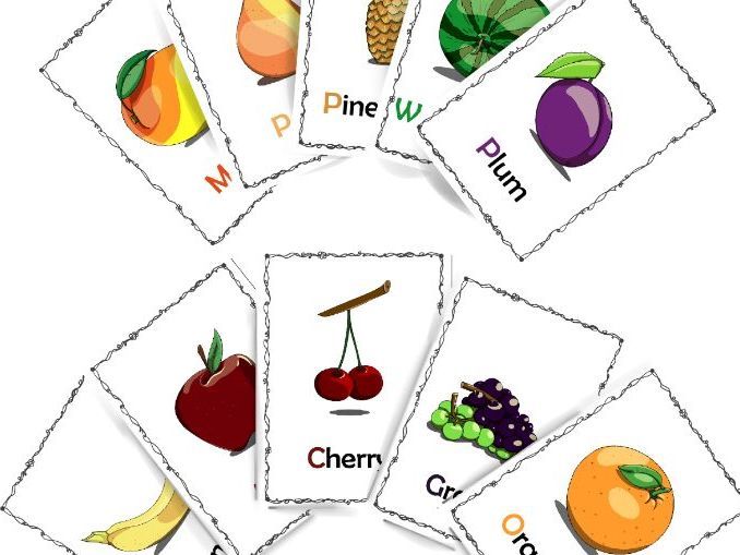 Fruits - set of flashcards, coloring sheets and worksheets