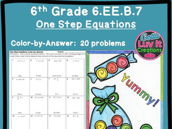 One Step Equations No Negatives - Color by Number