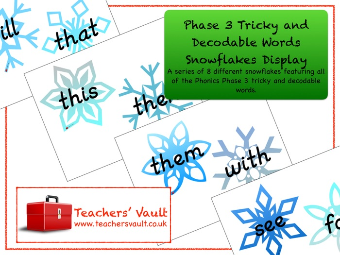 Phase 3 Tricky and Decodable Words Snowflakes Display