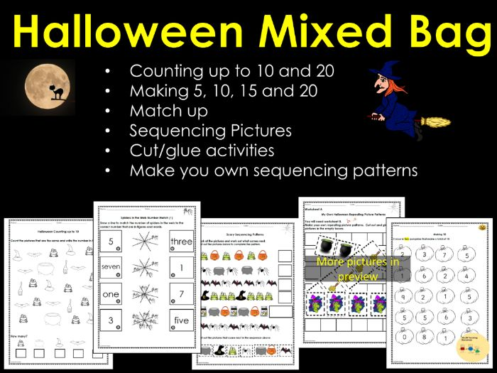 Halloween Counting, Match Up, Making 5, 10, 15 20, Picture Patterns, Cut/Glue Activity Worksheets