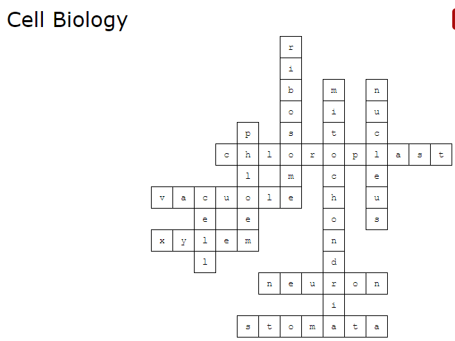 Cell Biology Crossword