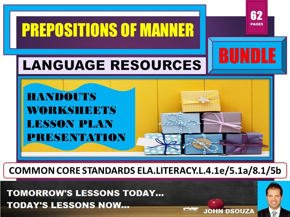 PREPOSITIONS OF MANNER BUNDLE