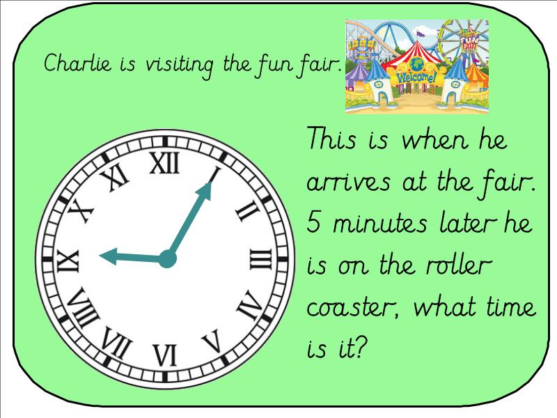Year 3 Telling the Time  and Calcuting Duration (Roman Numeral Clock) Fun Fair Context
